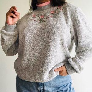 Vintage floral mock neckline embroidered sweater